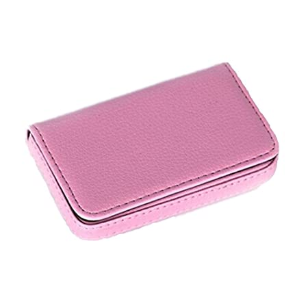 Webest solid color business pu leather card case business card webest solid color business pu leather card case business card holder pink reheart Image collections