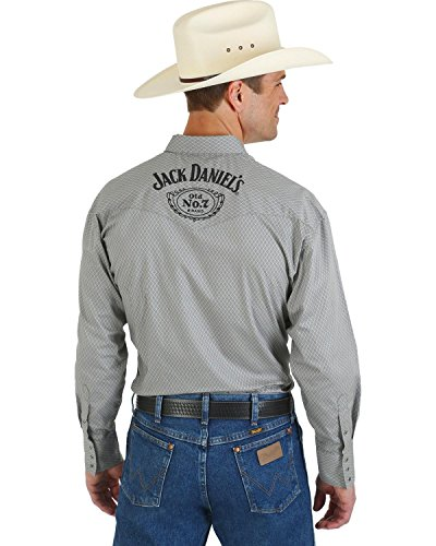 Wrangler Men's Grey Jack Daniel's Logo Western Shirt Grey Medium