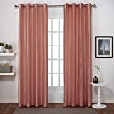 Exclusive Home Curtains Chatra Faux Silk Grommet Top Window Curtain Panel Pair, Coral, 54×84 For Sale