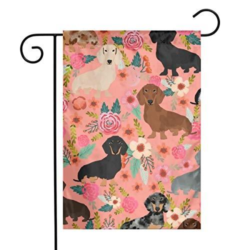 Life shop Doxie Floral Mixed Coats Dachshunds Dog Art Garden Flag Yard Flag 12