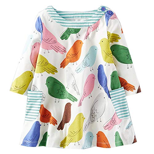 HOMAGIC2WE Girls Long Sleeve Cotton Dress Cute Cartoon Printed Basic Dresses with Pocket for -