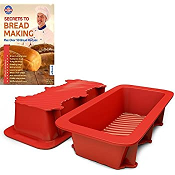 Amazon silicone bread and loaf pan set of 2 red nonstick silicone bread and loaf pan set of 2 red nonstick commercial grade plus homemade fandeluxe Document