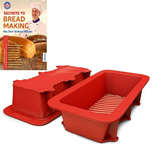Oven Safe Silicone Loaf Pan - Silicone Bread and Loaf Pan Set of 2 Red, Nonstick, Commercial Grade Plus Homemade Bread Making Recipe Ebook