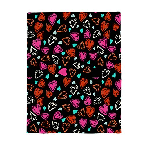 YEHO Art Gallery Flannel Fleece Bed Blanket Soft Throw-Blankets Home Decor,Colorful Shape of Heart Black Pattern,Lightweight Cozy Plush Blankets for Bedroom Living Room Sofa Couch,39 x 49 Inch