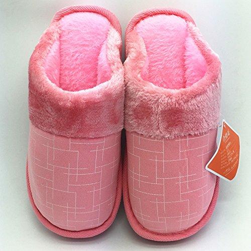 Cotone fankou pantofole inverno home soggiorno di spessore paio di pantofole indoor uomini pavimento antiscivolo caldo cotone e ,36-37, marrone
