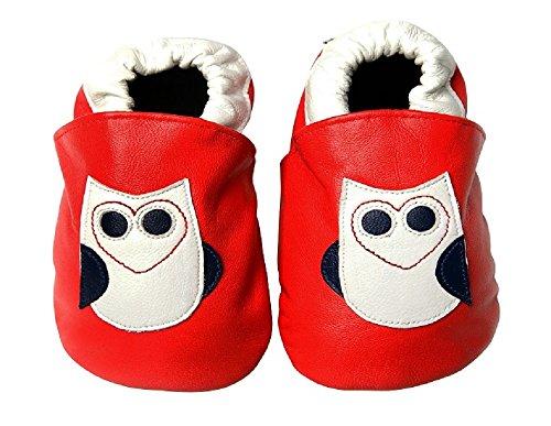 """""""búho se le"""" suela suave zapato de bebé rosso Talla:pequeño"""