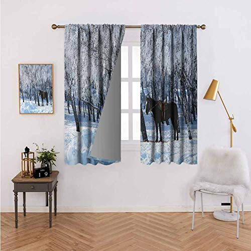 Curtains for Living Room Equestrian Decor Horse Between Trees in Winter Forest Frozen Woods ICY Land Nature Picture Brown White Boys Girls Bedroom Dorm W63 xL63