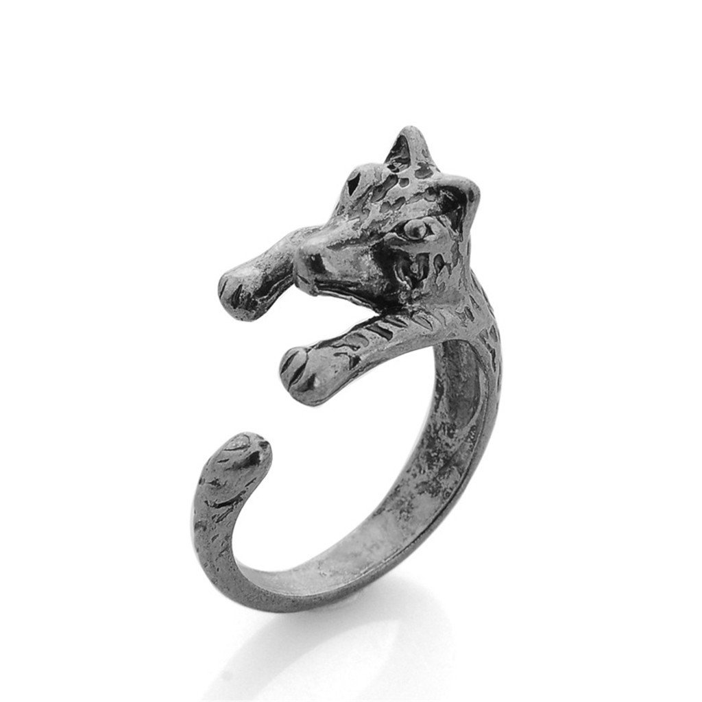 Kingbell Women's Fashion Style Animal Series Wolf Open Ring (Antique Silver, Gold)