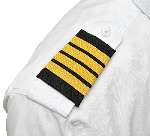 Four Bars Captain Aero Phoenix Professional Pilot Uniform Epaulets Gold Nylon on Black