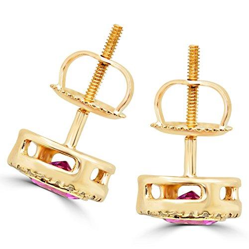 3/8Outlet-Vintage avec Tourmaline Rose et Diamant Halo Boucles d'oreilles clous en or jaune 14K avec fermoirs à vis