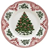 Johnson Brothers Old Britain Castles Pink 10-Inch Christmas Green Tree Dinner Plate