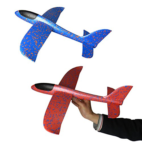 NiGHT LiONS TECH 2 pcs 18.9 inch Soft Foam throwing glider air plane inertia aircraft toy hand launch airplane model outdoor sports flying toy for kids girl boy as gift Hand Launch Glider