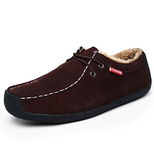 Zapatos De Moda para Hombre Botas para La Nieve De Cuero De Gamuza CáLido Invierno Botines De Felpa Impermeable Casual Low Top Men Zapatos Mocasines Planos: ...