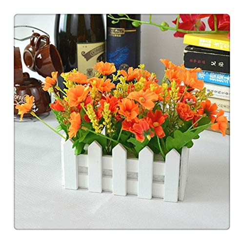 Wedding Decor Artificial Flower Fake Daisy in White Picket Fence Pot Pack Louis Simulation Artificial Flowers Garden Small Plant (Yellow)