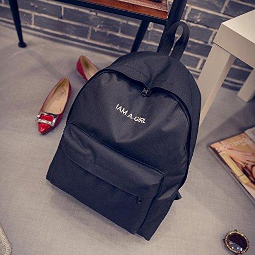 Bag Canvas Backpack Shoulder Black Rcool Backpack Bag Women Book Rucksack Girls School wFaBwvq