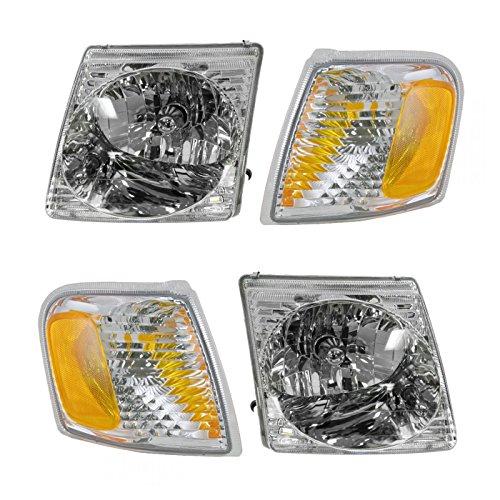 Headlight Headlamp Park Light Lamp Kit Set of 4 for Ford Explorer Sport Trac (Set Ford Explorer)