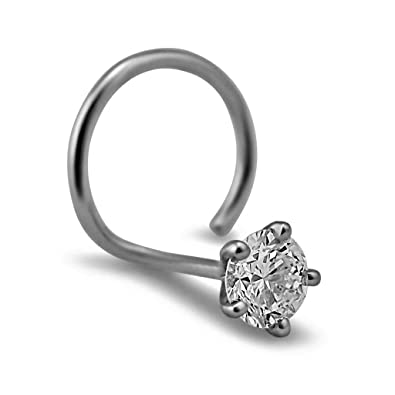 2 0mm Round Cut Diamond And 18k White Gold Nose Ring Pin 22g