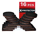 """Chair Leg Protectors for Hardwood Floors PREMIUM NON SLIP Furniture Pads 16 piece 2"""". Best SelfAdhesive Furniture Grippers – Furniture Stoppers with Rubber Pad – Ideal as Floor Protectors & Couch Stoppers for Keep in Place Furniture"""