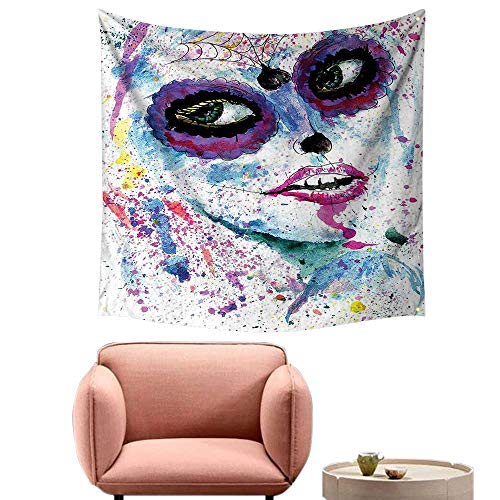 Dorm Room Tapestry Pretty Tapestry for Bedroom Halloween Lady with Sugar Skull Make Up Creepy Dead Face Gothic Woman -