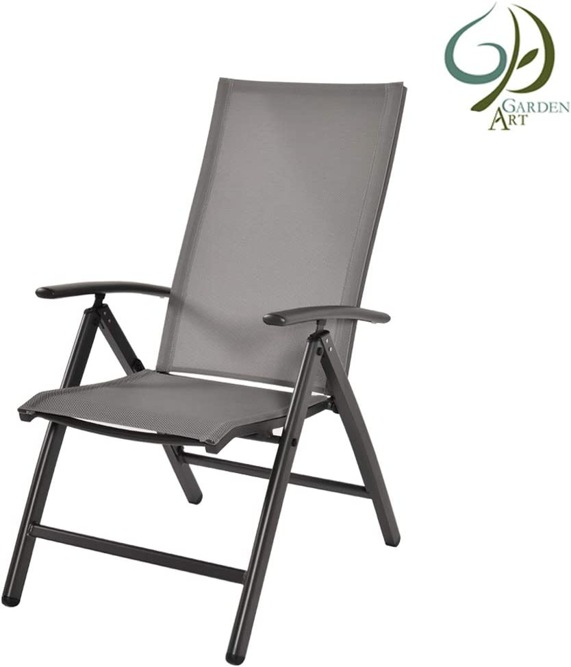 Garden Art Garden - Sillón Plegable Premium, línea de Aluminio, Silla de jardín, Gris