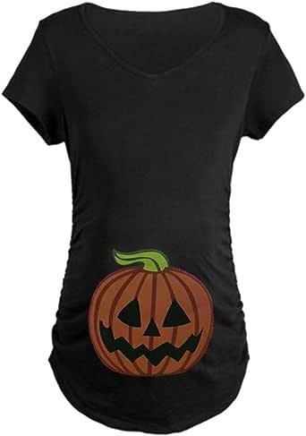 Q.KIM Camiseta de Maternidad Halloween Ropa Premamá Calabaza Estampado
