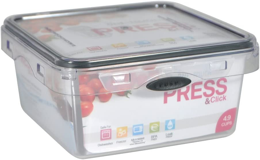 Stor-All Solutions Press N' Click Containers Square Food Storage Set, Medium, Clear