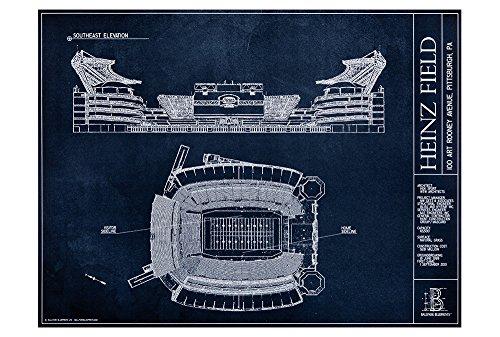 Heinz Field Blueprint Style Poster (Unframed, 18