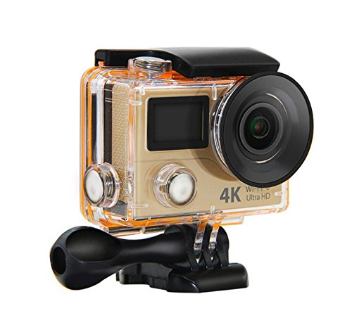 H3R Action Camera 4K Wifi Ultra HD Waterproof Diving Swim Sports DV Mini Cam Dual Screen FHD Sports Video Recording Camcorder (Gold)