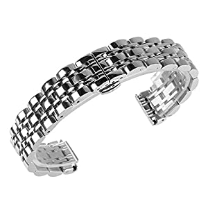 Beauty7 Black/Silver Tone Polished Stainless Steel Solid Link Watch Band Strap Butterfly Buckle Clasp