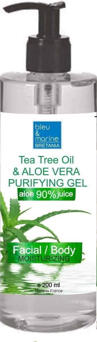 100% Natural Gel de Aloe Vera Refrescante & Hidratante Rostro Cuerpo con Aceite Esencial de Árbol de Té Purificante Dispensador 200 ml
