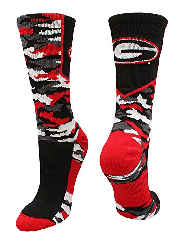 TCK Sports University Georgia Bulldogs Woodland Camo Crew Socks (Black/Scarlet/White, X-Large)