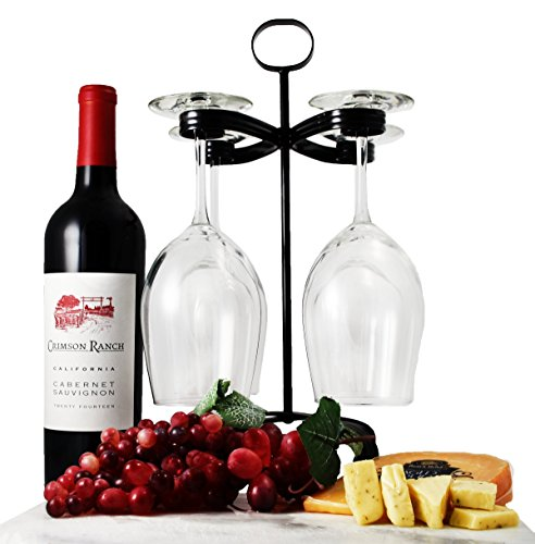 Mango Steam Wine Rack Stemware Holder Organizer Black (Stemware Black)