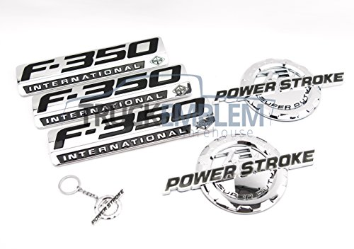 Truck Emblem Warehouse 5 New Custom Chrome F350 & 7.3L Powerstroke Super Duty Fender & Tailgate Set