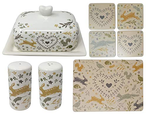 11 PIECE WOODLAND ANIMALS CERAMIC BUTTER DISH SALT/PEPPER SHAKERS PLACEMATS/COASTERS