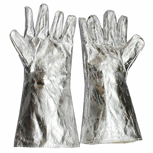 932°-1472°F Extreme Heat Resistant Gloves Welding Gloves Aluminum Foil Fiber Kitchen BBQ Gloves Oven Mitts With Fingers for Steel Manufacturing/Wood Stove/Metal Cutting YLST08 (1472°F) by QEES (Image #1)