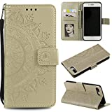 """Floral Wallet Case for iPhone 7 Plus 5.5"""",Strap Flip Case for iPhone 8 Plus 5.5"""",Leecase Embossed Totem Flower Design Pu Leather Bookstyle Stand Flip Case for iPhone 7 Plus /8 Plus 5.5""""-Gold"""