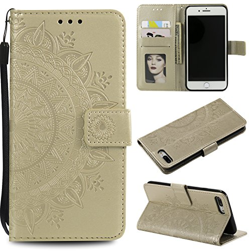 Floral Wallet Case for iPhone 7 Plus 5.5'',Strap Flip Case for iPhone 8 Plus 5.5'',Leecase Embossed Totem Flower Design Pu Leather Bookstyle Stand Flip Case for iPhone 7 Plus /8 Plus 5.5''-Gold by Leecase