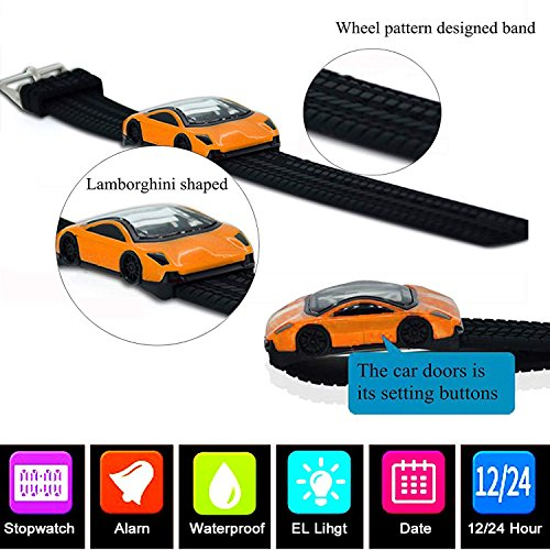 Kids Watches LED Waterproof 3D Car Silicone Children Toddler Wrist Watches Time Teacher Gift for Boys Girls Little Child Orange by Etway (Image #6)