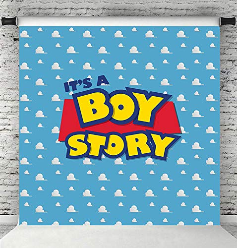 Fanghui 6x6FT Cartoon Kids Backdrop It's a boy Story Blue Sky White Clouds Background Birthday Party Boy Baby Shower Dessert Table Banner Supplies Photo Booth Props]()