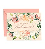 Coral Bridesmaid Proposal Cards Gorgeous Will You Be My Brides Maid Box Pack (Set of 5) Pink Modern Watercolor Floral Wedding Bridal Party Cards with Coral Envelopes CW0002-1