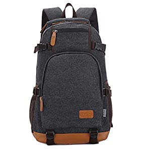 Outdoor Men Rucksack Canvas Hiking Laptop School Backpack Shoulder Satchel Bag, Beauty is everywhere, with this bag is your choice, also the best gift gift friends.(Black)