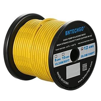 Amazon bntechgo 12 gauge silicone wire spool yellow 100 feet bntechgo 12 gauge silicone wire spool yellow 100 feet ultra flexible high temp 200 deg c greentooth Image collections
