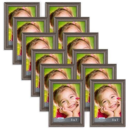 Icona Bay 5x7 Picture Frame (12 Pack, Hickory Brown), Photo Frame 5 x 7, Composite Wood Frame for Walls or Tables, Set of 12 Lakeland ()
