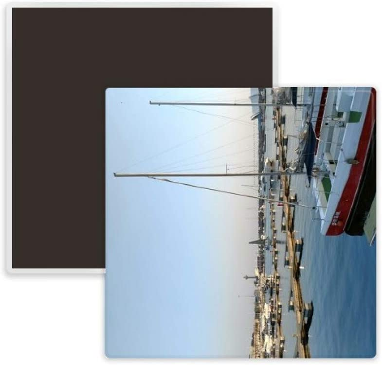 Wharf Ship Photography Square Ceramics Fridge Magnet Keepsake Memento