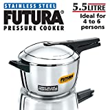 Hawkins-Futura F-56 Futura Induction Compatible Pressure Cooker, 5.5-Liter, Stainless Steel