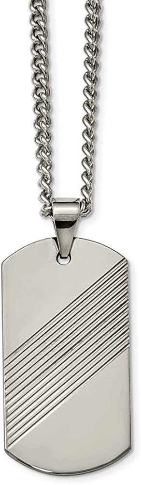 Jewelry Necklaces Necklace with Pendants Tungsten Textured and Polished Dog Tag Necklace