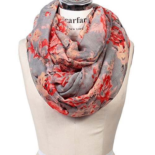 Scarfand's Romantic Rose Print Lightweight Infinity Scarf (Bouquet Rose Gray) ()