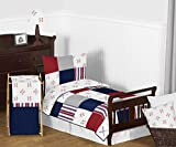 Sweet JoJo Designs Red, White and Blue Baseball Patch Sports Boy Toddler Kid Childrens Bedding Set - 5 Pieces Comforter, Sham and Sheets - Grey Patchwork Stripe