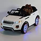 12v Ride on Car Range Rover Evoque Style, Toy for Kids, Boys and Girls with Music, Leather Seat, LED Wheels Lights - White