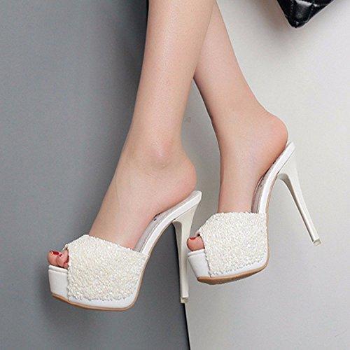 Spesso Club Inferiore Uno Night Pantofole Dodici white Fico Tacchi Di Estate Benda GTVERNH Di Moda Spessore Centimetri Sexy Sottile Donne qUWC7pf